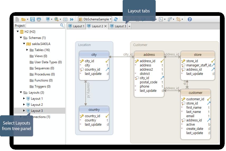 DBSchema software UI