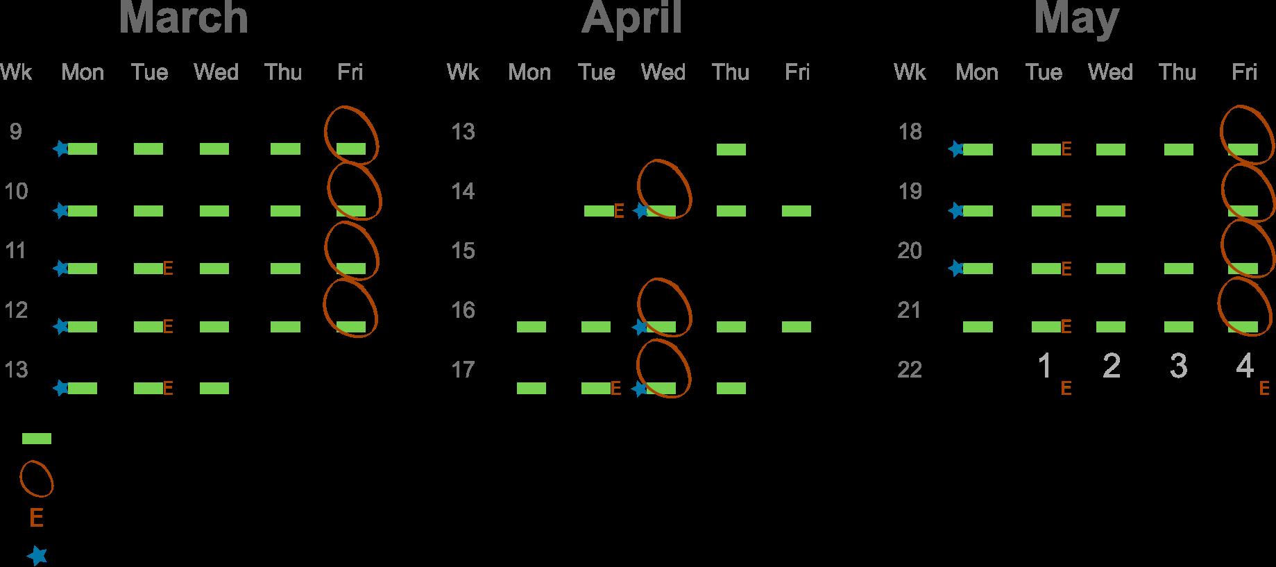 Course schedule 2021