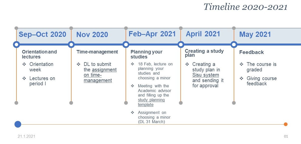Timeline 2020-2021 of the course