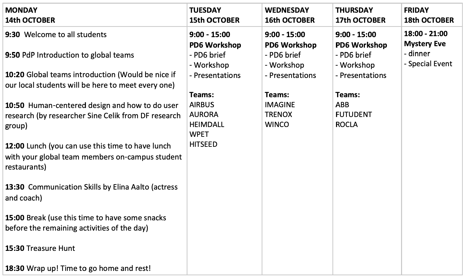 PD6 Week Full Schedule